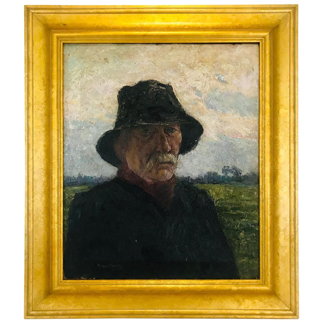 Pierre Paulus Portrait of Man in Hat Oil on Canvas