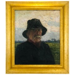Pierre Paulus Portrait of Man in Hat Oil on Canvas