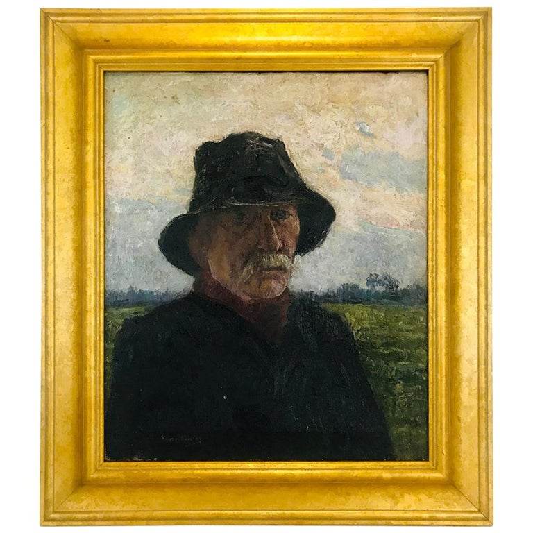 Pierre Paulus Portrait of Man in Hat Oil on Canvas For Sale