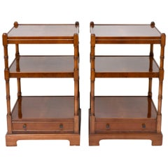 Pair of Burl Wood Three Shelves End or Side Tables