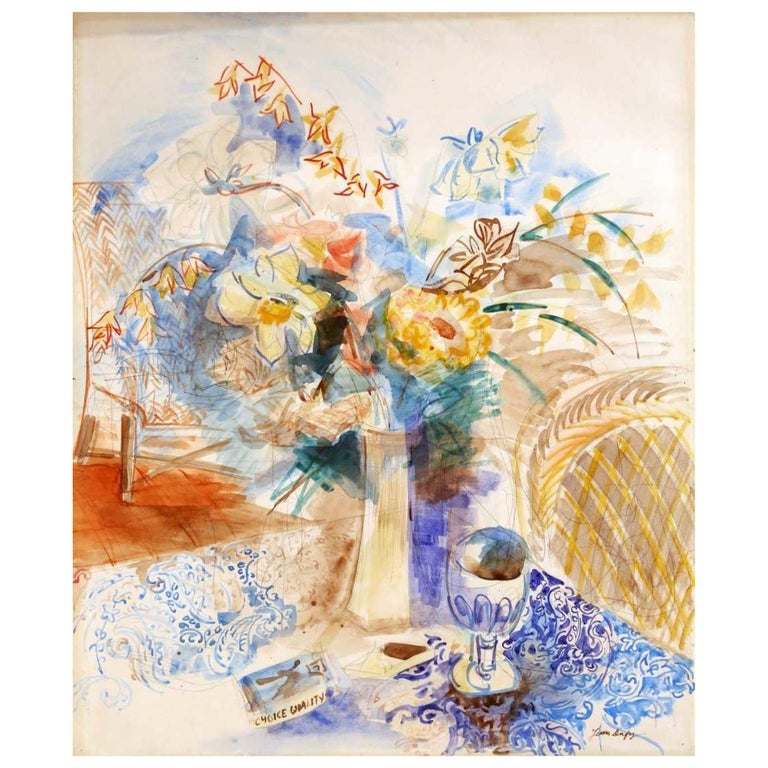 Still Life, Flowers in a Vase Watercolor by Jean Dufy, Signed