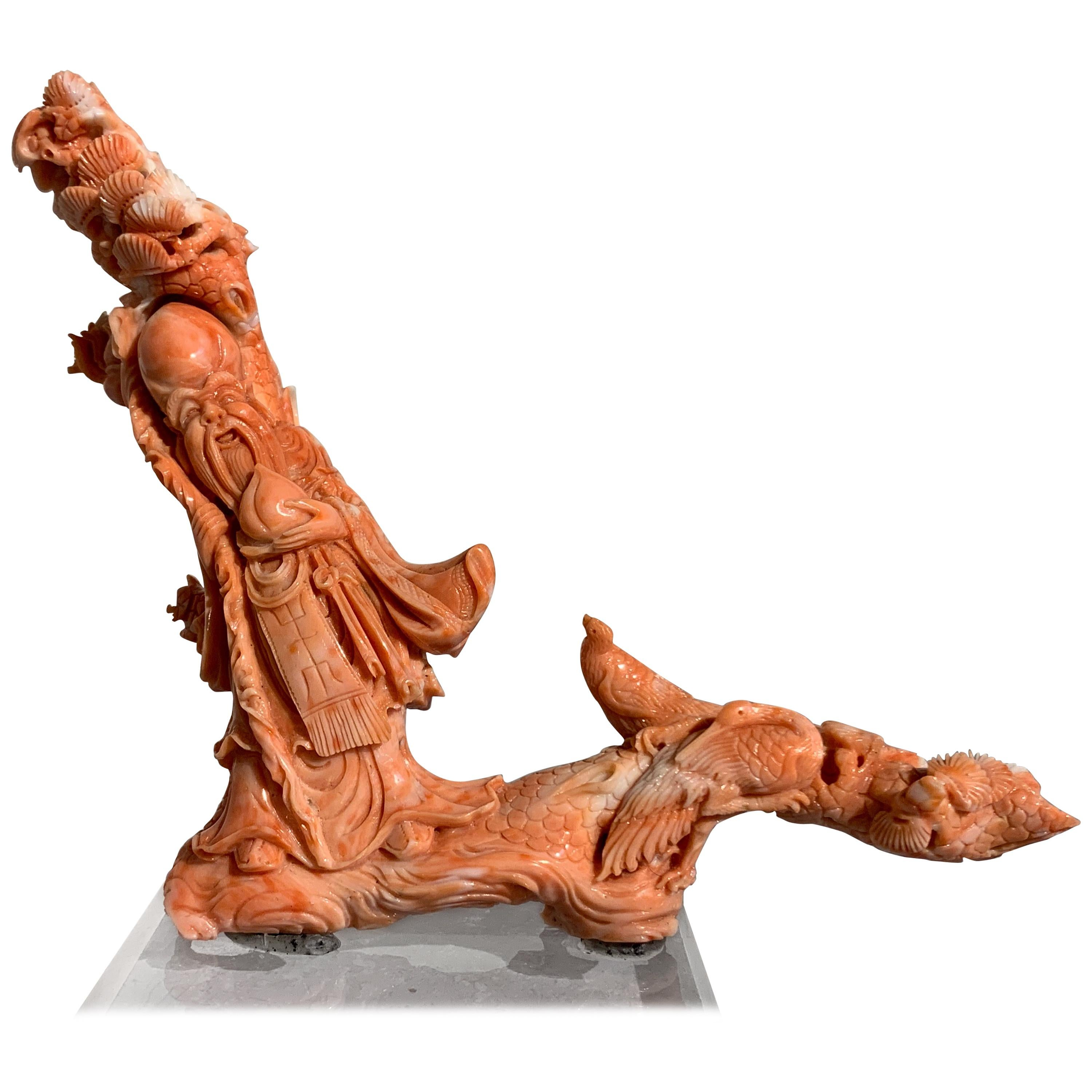 Chinese Carved Coral Figure of Shou Lao, Early 20th Century