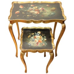 20th Century Belle Époque Style Golden hand painted Side Table or Sofa Table