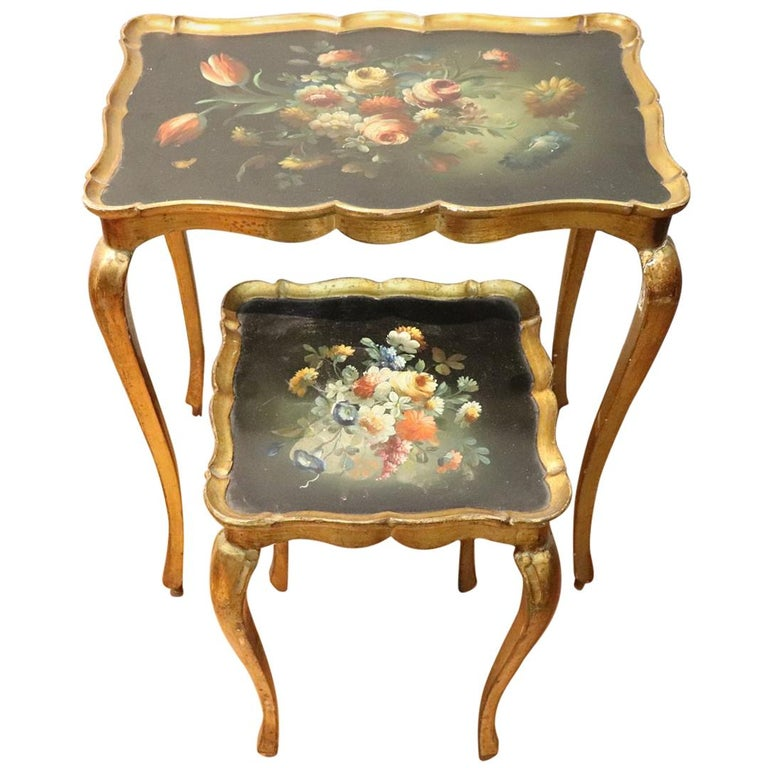 20th Century Belle Époque Style Golden hand painted Side Table or Sofa Table For Sale