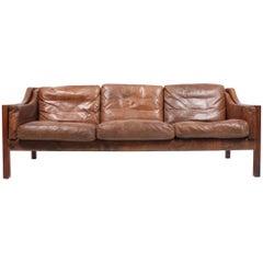 Sofa in Patinated Leather by Erik Jørgensen