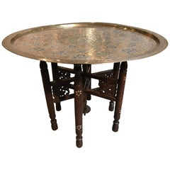 Anglo-Indian Folding Table with Metal Tray