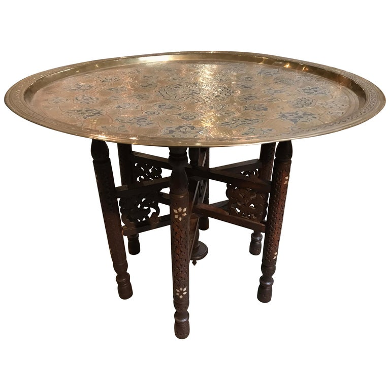 Anglo-Indian Folding Table with Metal Tray For Sale