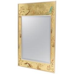 La Barge Reverse Painted Gold Leaf Rectangular Frame Decorative Mirror