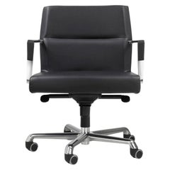 Modern office chair chrome and leather, made in Italy, In stock