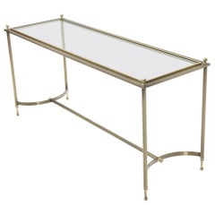 Midcentury Two-Tone Metal Brass and Steel Arch Stretcher Console Sofa Table