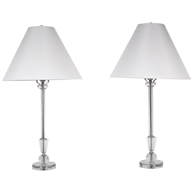 Tall Pair Of 1940 S Crystal Candlestick Bedside Lamps With Ball Base For