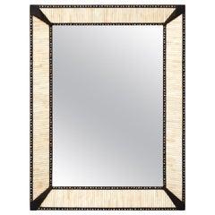 Teak Mirror with Bone Inlay