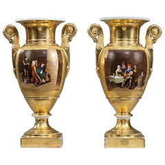 Early 19th Century Empire Porcelain Vases with Cabaret Scenes