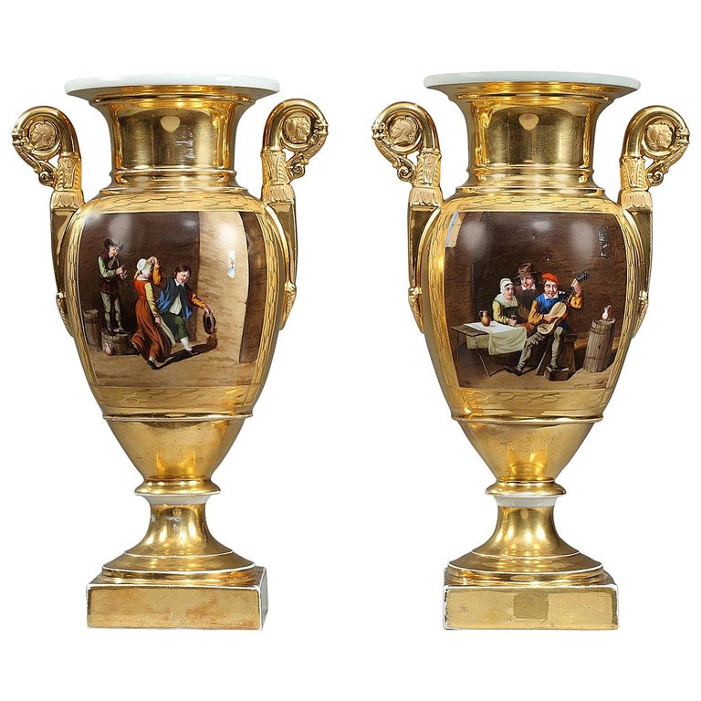Early 19th Century Empire Porcelain Vases with Cabaret Scenes For Sale