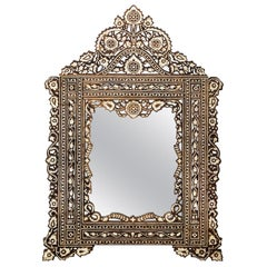 Moroccan Teak and Mother of Pearl Mirror