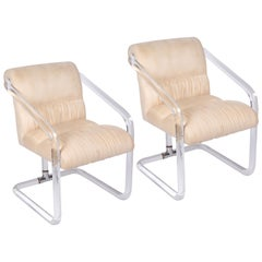 Pair of Lucite and Chrome Chairs by Lion in Frost