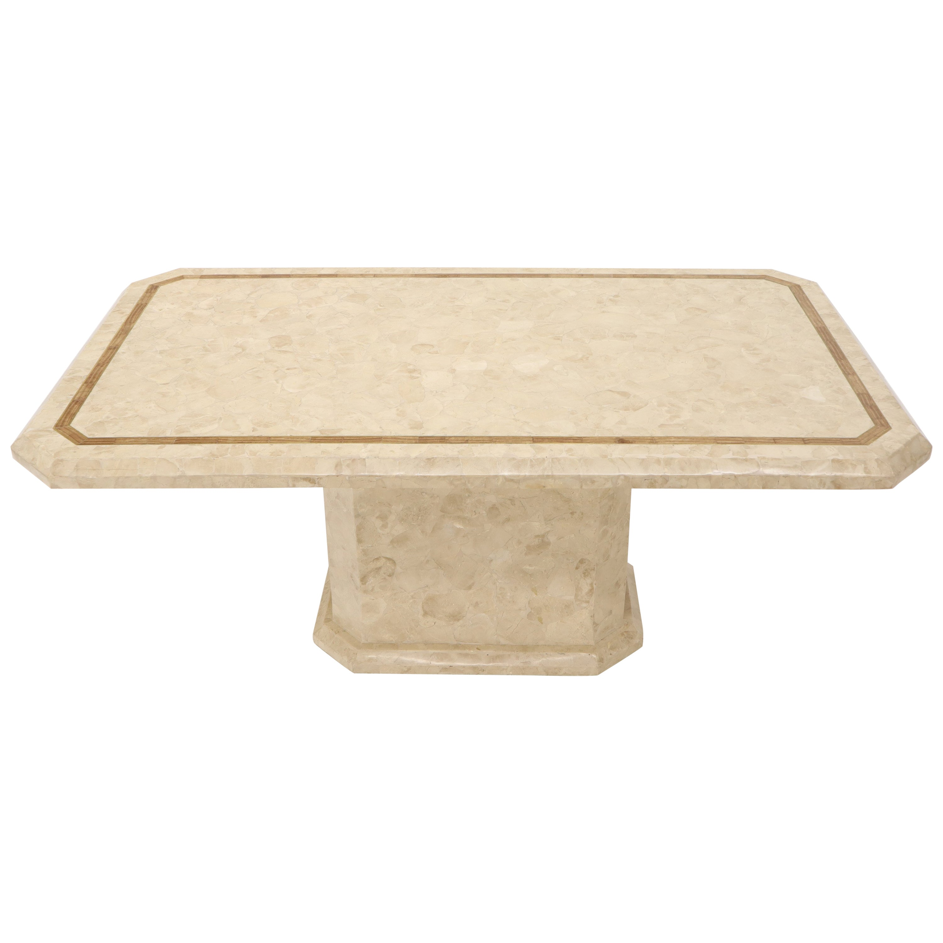 Stone Veneer Tessellated Inlayed Rectangular Dining Conference Table