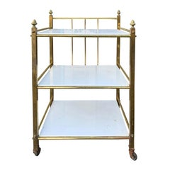 Mid-20th Century Brass Étagère with White Marble Shelves