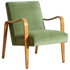 Maplewood and Upholstered Armchair, Mid to Third Quarter of the 20th Century