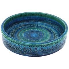 Italian Midcentury Aldo Londi Bitossi Rimini Blue Glazed Ceramic Circular Bowl