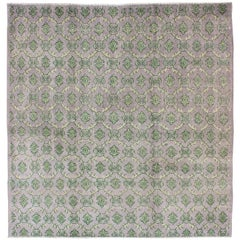 Gray/Lavender and Green Mid-Century Modern Vintage Turkish Square-Sized Rug