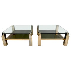 Pair of 23-Karat Gold-Plated Two-Tier End Tables by Belgo Chrome