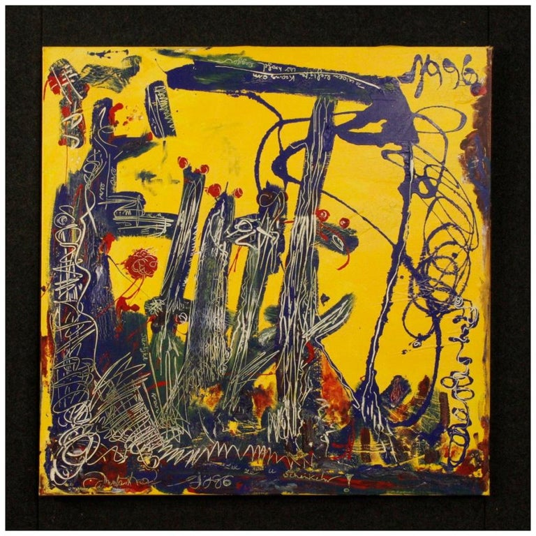 20th Century Mixed-Media on Canvas Modern Dated Dutch Abstract Painting, 1996 For Sale