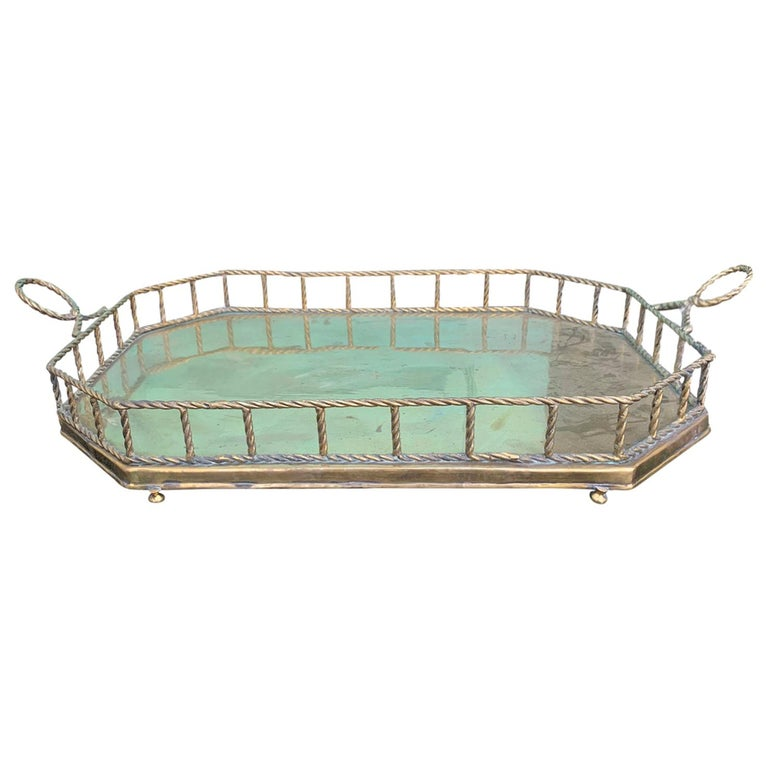 Mid-20th Century Oval Brass Tray with Rope Detail For Sale