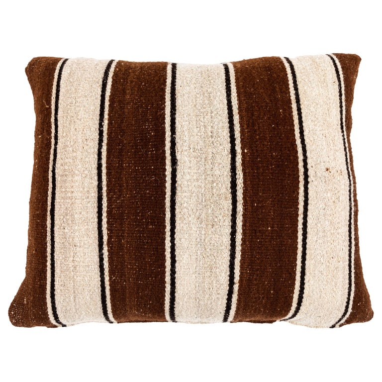 Brown Striped Peruvian Pillow For Sale