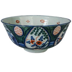 Antique Dutch Delft Punch Bowl with Green Ground 18th Century