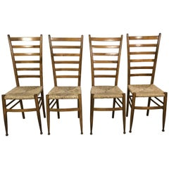 Set of Four Midcentury Beech Ladder Back Dining Chairs in the Style of Gio Ponti