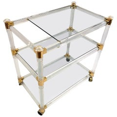 Brass and Lucite Bar Cart or Trolley with Glass Top