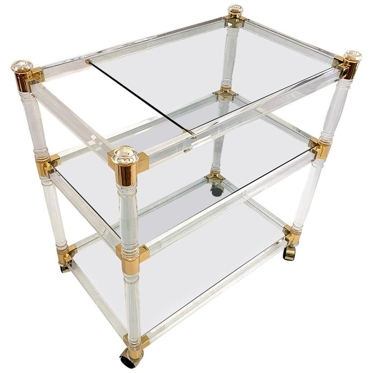 Brass and Lucite Bar Cart or Trolley with Glass Top For Sale