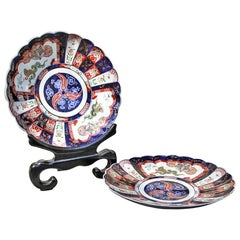 Pair of Japanese Meiji Period Imari Chargers with Scalloped Edges, 19th Century