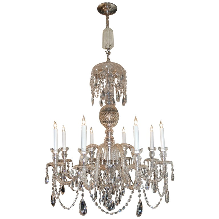 Waterford Style Georgian Cut Crystal Eight-Light Chandelier, circa 1910 For Sale