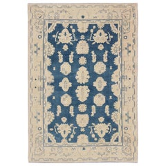 Vintage Turkish Oushak Rug with All-Over Design in Royal Blue and Nude