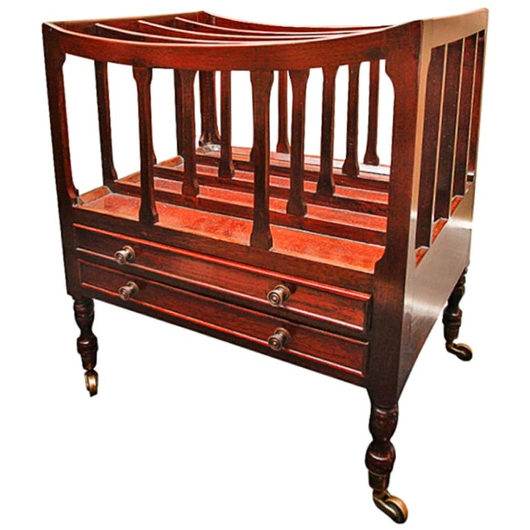 English Mahogany Canterbury or Folio Rack with Three Open Slats, 19th Century For Sale