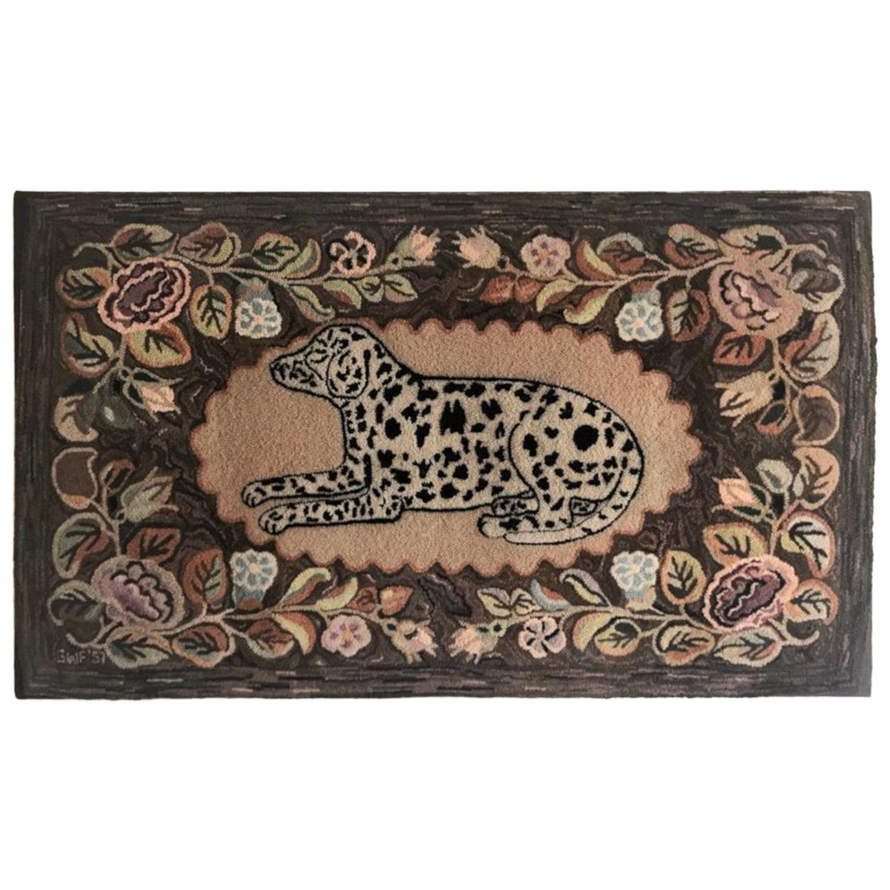 American Hand Hooked and Mounted Dog Rug