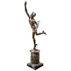 Neoclassical Style Bronze Sculpture of Mercury on a Slate Slab, 19th Century