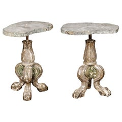 Pair of Italian 19th Century Prickets Made into Tables with Agate Stone Tops