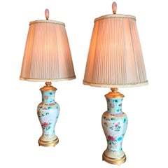 Fine Pair of Chinese Famille Rose Vase and Gilt Bronze Mounts Made as Lamps