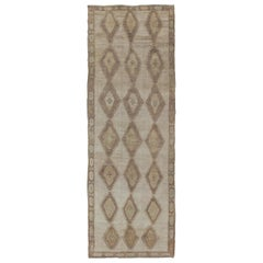 Shades of Brown Vintage Turkish Oushak Gallery Rug with Geometric Diamond Design