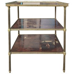 20th Century French Three-Tier Chinoiserie Table, Bronze Gallery