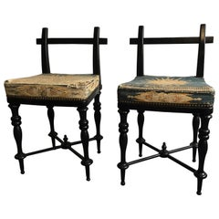 Pair of Black Lacquered Aesthetic Movement Side Chairs