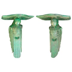 Pair of Early 20th Century French Painted Green Parrot Brackets, circa 1920s