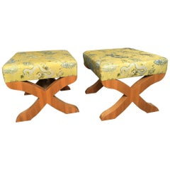 Pair of X-Base Stools in Silk Embroidered Fabric