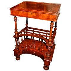 English Walnut Captain's Desk with Leather Topped Writing Surface, 19th Century