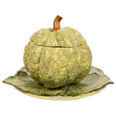 Antique French Faience Tureen Modeled as a Pumpkin 18th Century