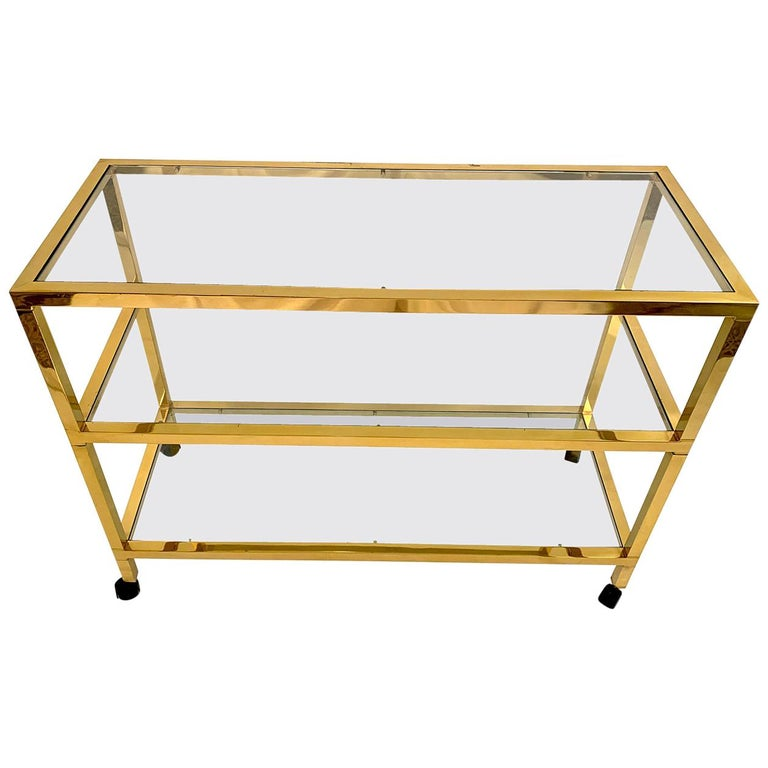 Three-Tier Glass and Brass Drinks Cart For Sale