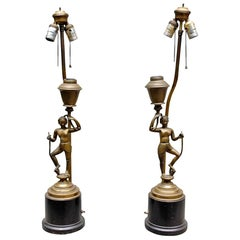 Pair of Brass Siamese Oil Lamps Mounted on Bases and Electrified, 18th Century